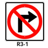 R3-1, No Right Turn Symbol Sign