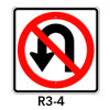 R3-4, No U Turn Symbol Sign